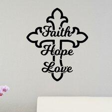 Faith Hope Love Cross Christian Bible Verse Wall Sticker