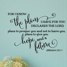 For I Know the Plans I Have for You Bible Verse Wall Decal