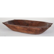 Deep Wooden Dough Bowl with Handles