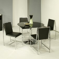 Sundance 5 Piece Dining Set in Chrome and Black Glass with Belado Side Chair