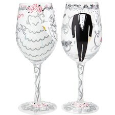 Bride and Groom 2 Piece All Purpose Wine Glass Set