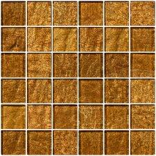 "2"" x 2"" Glass Mosaic Tile in Golden Rust"