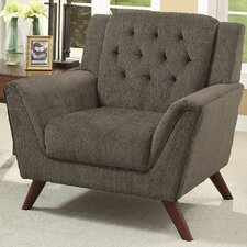 Fabric Upholstered Tufted Solid Wood Arm Chair