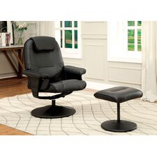 Stanley Upholstered Swivel Recliner and Ottoman