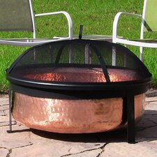 Hammered Copper Wood Fire Pit