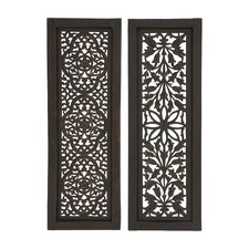 2 Piece Traditional Hand Carved Wood Wall Décor Set