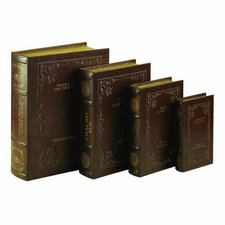 4 Piece Wooden Book Boxes Set