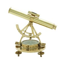Decorative Nautical Brass Miniature Telescope and Compass