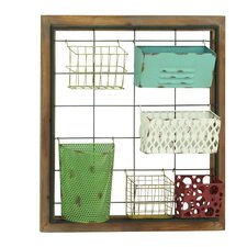 Charming 7 Piece Metal Basket Set with Wire Grid