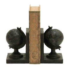 Traditional Rustic Polystone Globe Book Ends (Set of 2)