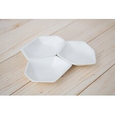3 Piece Small Geometric Ring Dish Set in White