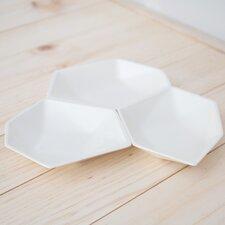 3 Piece Large Geometric Ring Dish Set in White