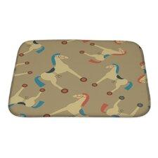 Animals Retro Styled Toy Horse Pattern Bath Mat/Rug