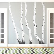 Illustrated Birch Trees Printed Wall Decal