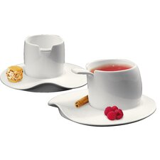 Materia 4 Piece Espresso Cup and Saucer Set