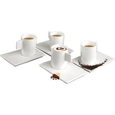 Geo Espresso Cup and Saucer Set (Set of 4)