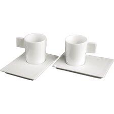 Geo Espresso Cup and Saucer Set (Set of 2)