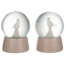 2 Piece Bird Snow Globe Set