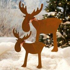 2 Piece Moose Garden Stake Set