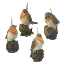 4 Piece Robin Sitting on Nut Hanging Figurine Set