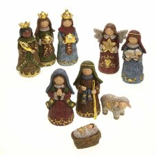 9 Piece Tall Resin Linen Look Nativity Set