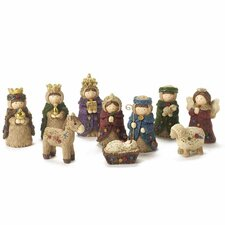 10 Pieces Small Coloured Nativity Set