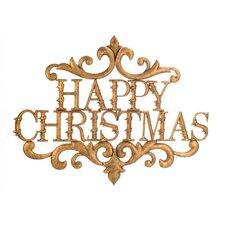 Schild Gold Happy Christmas