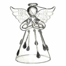 Glass Angel with Droplet Skirt Hanging Figurine (Set of 6)