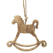 Wooden Rocking Horse Hanging Figurine (Set of 6)