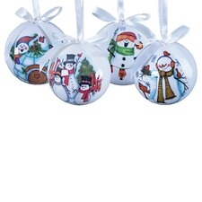14 Piece Let It Snow Decoupage Ball Ornament Set