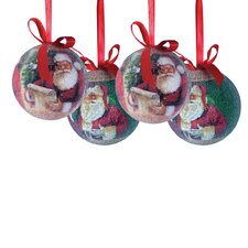 14 Piece Santa Decoupage Ball Ornament Set (Set of 14)