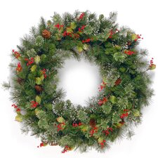 Wintry 91.44cm; PVC Berry, Holly Leaf and Pine Wreath