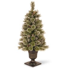 Sparkling 4' Green Pine Artificial Christmas Tree with Urn