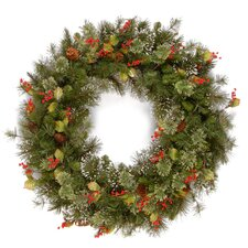 Wintry 60.96cm; PVC Berry, Holly Leaf and Pine Wreath