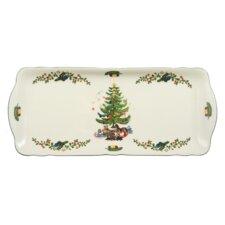 """35 cm x 15 cm Kuchenplatte """"Marie-Luise"""" aus Porzellan in Weihnachten-Dekor"""