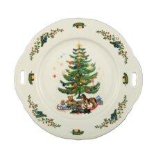 """27 cm x 26 cm Kuchenplatte """"Marie-Luise"""" aus Porzellan in Weihnachten-Dekor mit Griffen"""