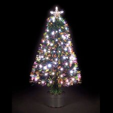 4' Green Artificial Christmas Tree with Warm White LED Lights with Pot