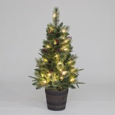 4' Green Artificial Christmas Tree with 50 Warm White LED Lights with Pot