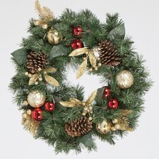 60cm Red Ornament and Gold Berry Wreath