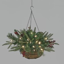 Pre-Lit Mountain Mix PE Hanging Basket with 35 LEDs
