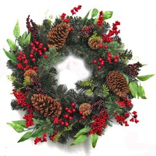 60cm Red Berry Pinecone and Foliage Wreath