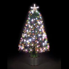 5' Green Artificial Christmas Tree with Fribre Optic Warm White LED Light with Pot
