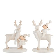 2-tlg. Figuren-Set Standing Reindeer and Child