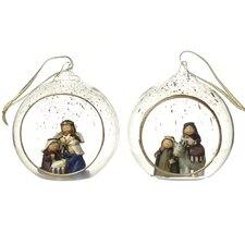 2 Piece Nativity in Glass Ball Set