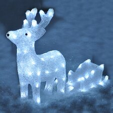LED Crystal Effect Reindeer with Sleigh Lighted Display