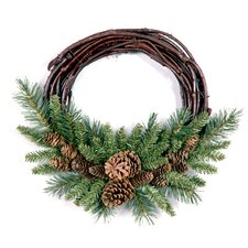 25.4cm; PVC Pine and Grapevine Wreath
