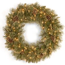 60.96cm; Lighted PVC Pine Wreath