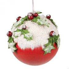 Snow and Holly Decorated Ball Ornament (Set of 4)