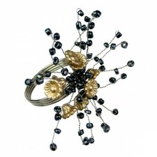 Bead and Flower Napkin Ring (Set of 3)