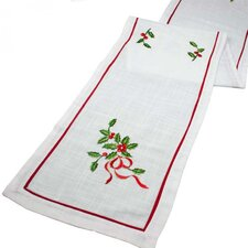 Holly Embroided Table Runner